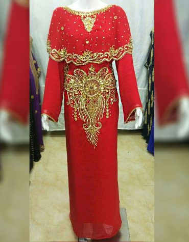 New African Attire chiffon kaftan Dress with Crystal Stone Work Material For Women