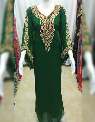 New Elegant Designer Heavy Beaded work & Chiffon fabrics material Kaftan For Women