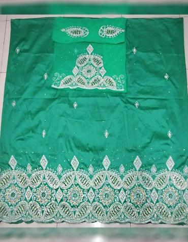 Elegant Unique Nigerian Beaded Wrapper Taffeta George Fabric Dress Material For Women