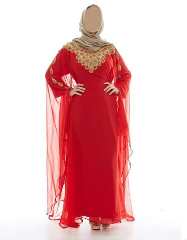 Elegant Designer African Golden Embroidery Work Chiffon Kaftan Dresses For Women