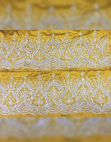 Designer Trendy Heavy Beaded Wedding Dress Material Silk Nigerian George Wrapper