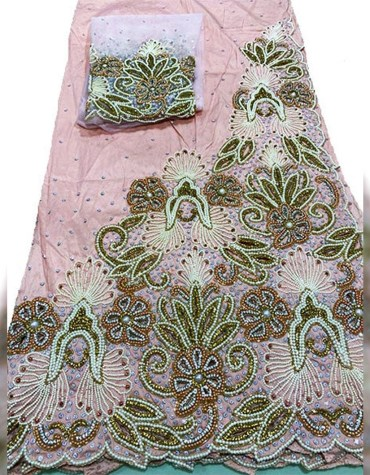 New Classic Designed Nigerian Beaded Tulle George Fabric Dress Material For Women