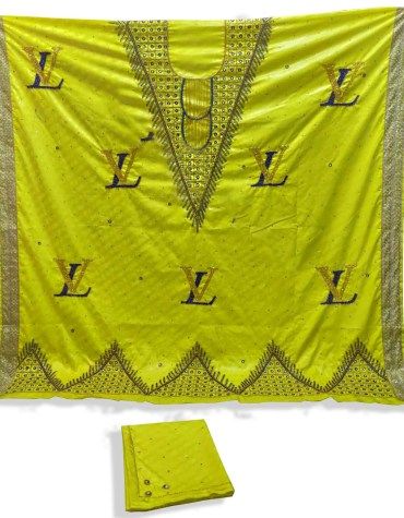 New Designer African With Golden Embroidery Satin Silk Dress Material For Women