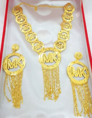Designer 2021 African Party Gold Platted Necklace & Earrings Jewelry Set For Women