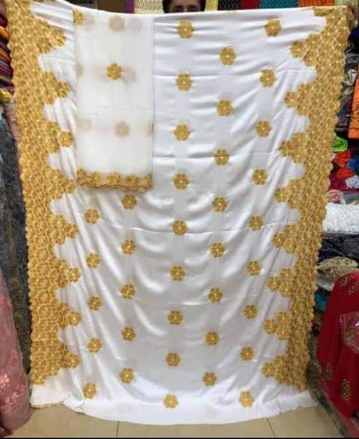 Latest Designer African Gold Embroidery Satin Silk Dress Material For Women