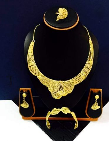 African 2 Gram Gold New Trendy and Fashionable Necklace Jewellery Full Set For