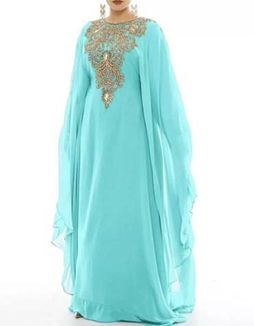 African Style Womens Wear Chiffon Kaftan Golden Beaded Dress for Evening Party
