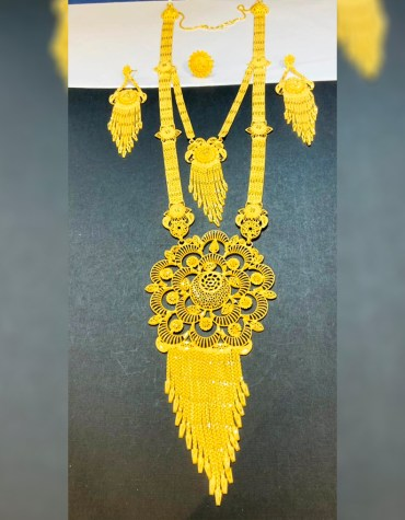 2 Gram Gold New Trendy 2021 Long Necklace and Earrings Jewellery full Set