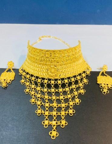 Elegant New Designer Wedding 2 Gram Gold Jewellery Necklace and Earrings Set For Women