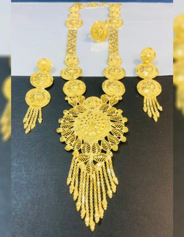 New 2 Gram Gold Unique Trendy Jewellery Necklace and Earrings full Set For Women