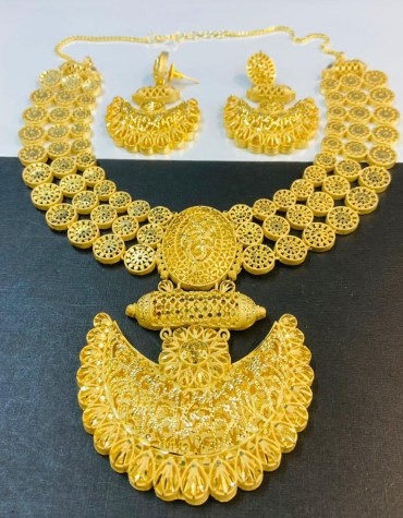 New African 2 Gram Gold Designer Jewellery Necklace and Earrings Full Set For Women