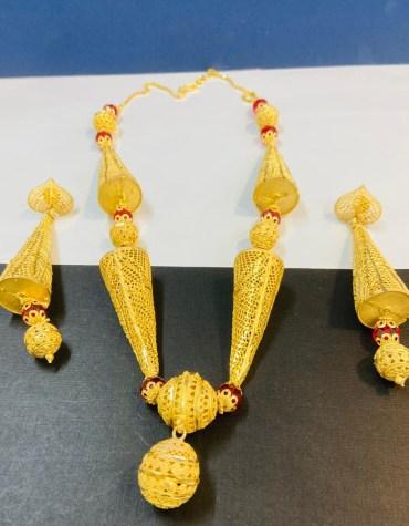 New African Trendy 2 Gram Gold Designer Jewellery Necklace and Earrings Full Set For Women