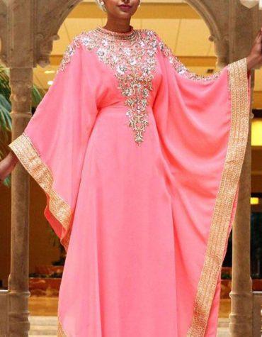 ew Dubai Kaftan for Women Beads work Maxi Dress Gown Formal Chiffon African Wear