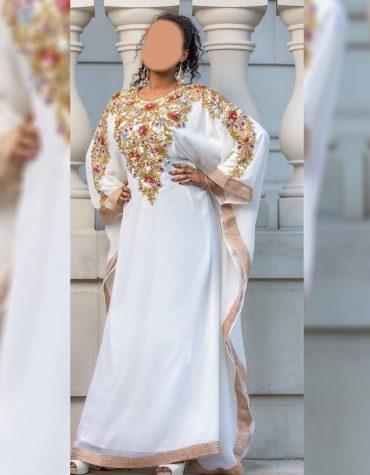 Elegant Dubai Kaftan for Women Beads work Maxi Dress Gown Formal Chiffon African Wear