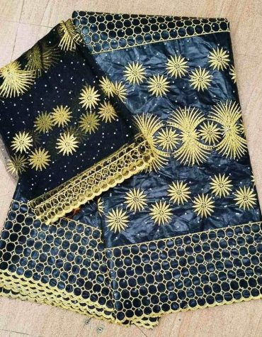 African Fully Embroidered 100% Super Magnum Gold Rich Bazin Women Dress Material For Women