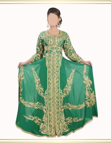 Trendy Dubai Kaftan for Women Beads work Maxi Dress Gown Formal Chiffon African Wear