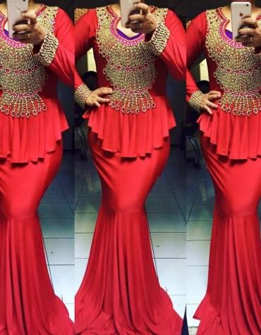 New Peplum Designed Moroccan Beaded Evening Long Party Wear African Lycra Kaftan Dresses for Women