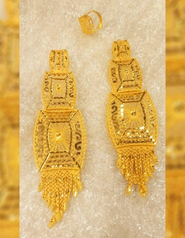 New Trendy African 2 Gram Gold Wedding Party Wear Earrings & Ring for Women