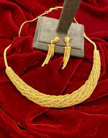 New Stylish & Trendy Party Wear 2 Gram Gold Jewellery Necklace and Earrings Set For Women