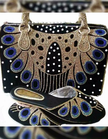 New Trendy Weave Crystal & Pearl Beaded Handbag & 1 Pair Of Shoe's For Wedding Or Party Wear