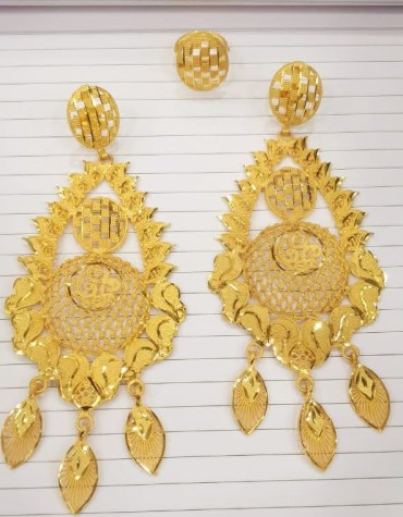 Trendy Designer Golden Floral Design Earrings Wedding Party Set
