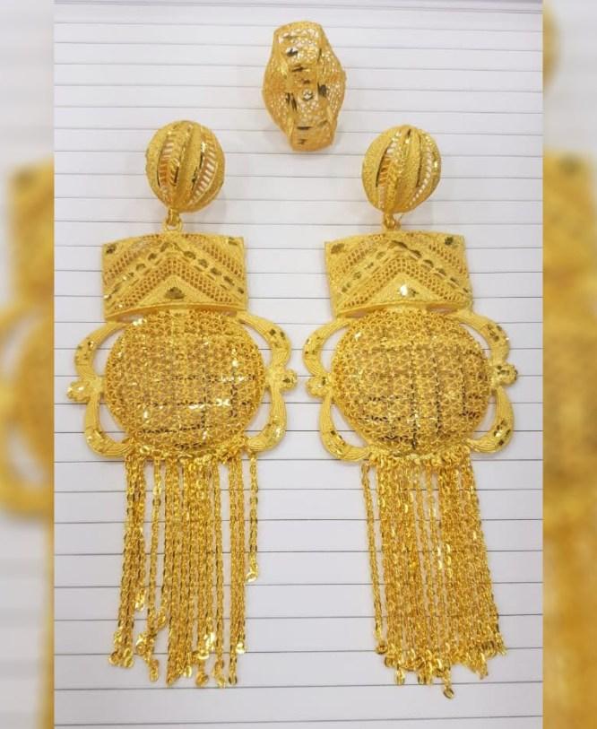 Trendy African Fancy & Latest 2 Gram Gold Wedding Party Wear Earrings & Ring for Women