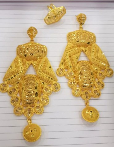 New Latest Gold Platted Glorious Trendy Designer Earrings with Finger Ring Women Jewellery