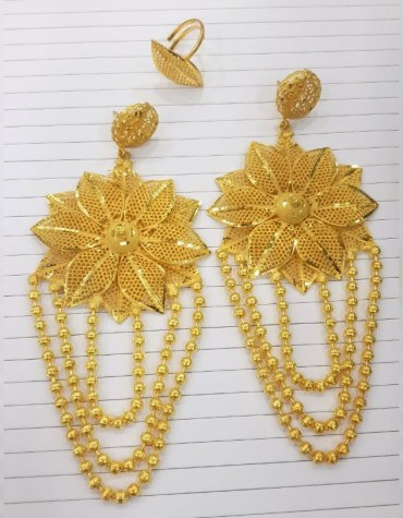 New Trendy Designer Golden Floral Design Earrings Wedding Party Set