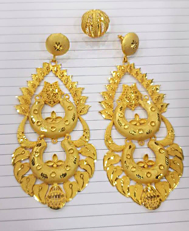 New Trendy African Fancy & Latest 2 Gram Gold Wedding Party Wear Earrings & Ring for Women