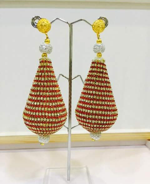 African Unique Designer Golden Plated Earring Set for Woman Evening Party Wear