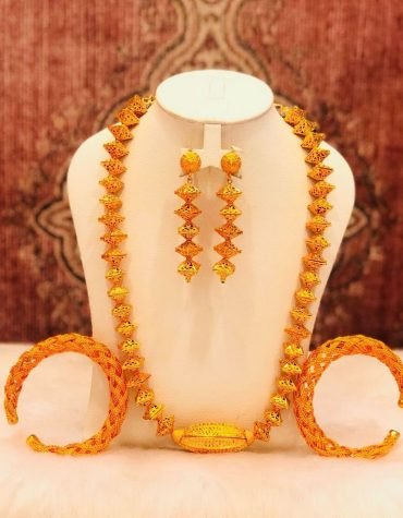 Antique 2 Gram Gold Zig Zag Bead 3 Pieces Jewellery Set For Women Evening Party