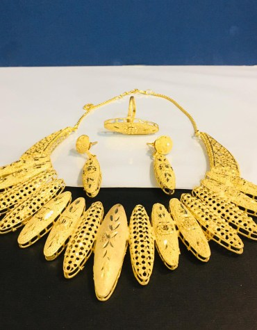 African Antique 2 Gram Gold Jewellery Necklace and Earrings Set For Women