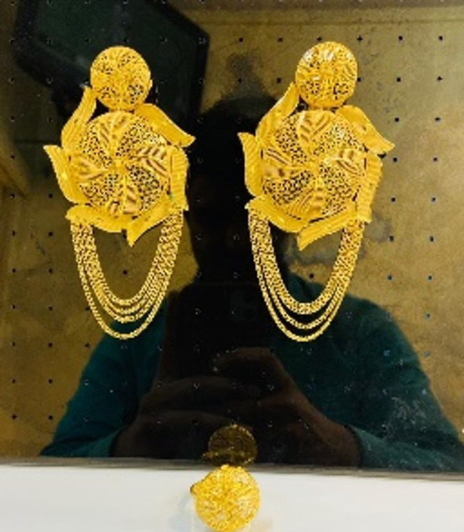 New Designer Golden Floral Design Earrings Wedding Party Set