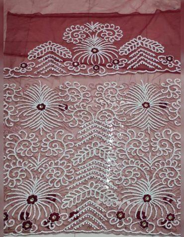 African Heavy Beaded Party Wear Dress Material Silk Nigerian George Wrapper
