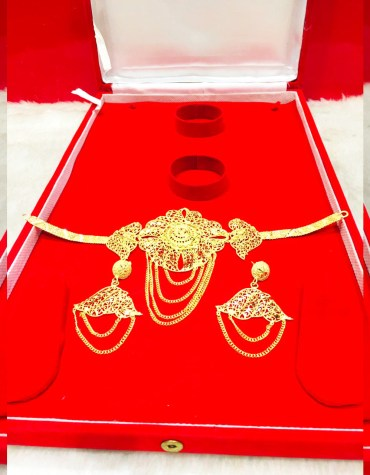 African Elegant 2 Gram Gold Choker Necklace & Earrings Jewellery for Women