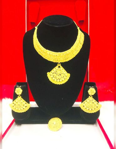 African Wedding 2 Gram Gold Jewellery Necklace and Earrings Set Jewellery For Women