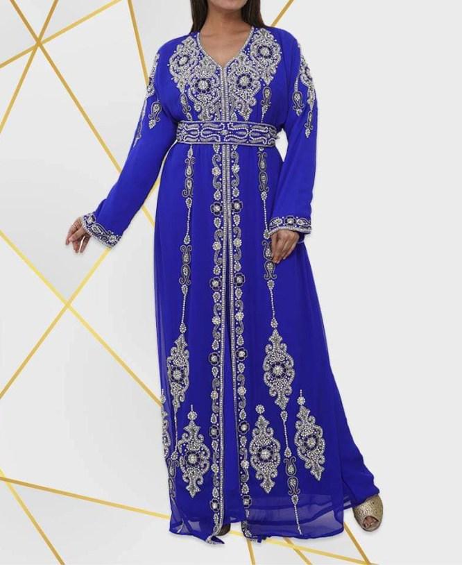 African Silver Beaded Crystal Stone Chiffon Kaftan Wedding Wear for Women