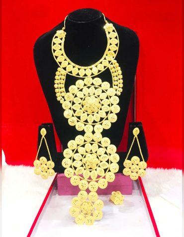 African Wedding 2 Gram Gold Necklace Pair Of Earrings & Finger Ring For Women
