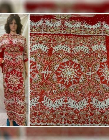 Latest Design Nigerian Beaded Wrapper Taffeta George Fabric Women Dress Material
