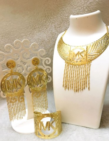 African Elegant 2 Gram Gold Design Wedding Golden Plated Necklace Set For Women