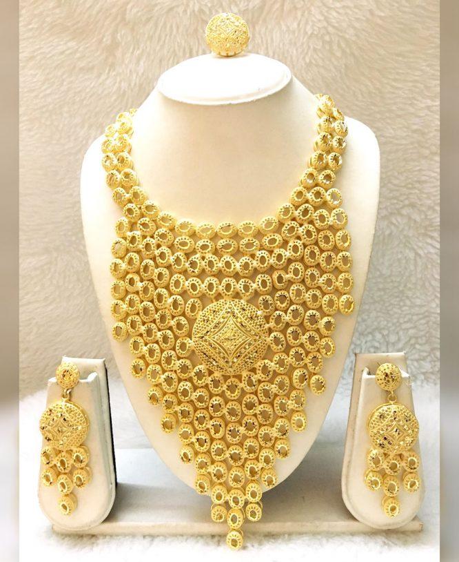 African Trendy 2 Gram Gold Design Jewellery Necklace Set Full Set For Women