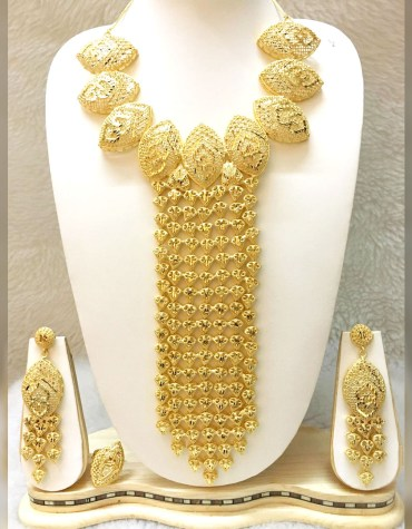 African New Stylish 2 Gram Gold Design Jewellery Set Necklace For Women