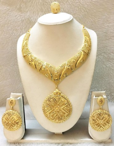 African Design 2 Gram Gold Plated Jewellery Necklace Pair Of Earrings & Finger Ring