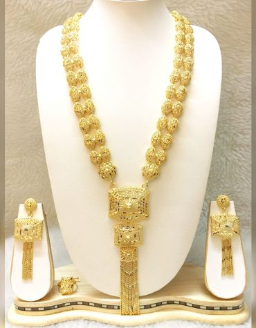 African Trendy 2 Gram Gold Bridal Jewellery Set Necklace Set For Women