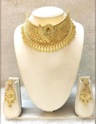 New Design Party 2 Gram Gold Jewellery Necklace and Earrings Set For Women