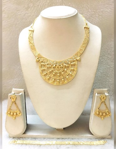 African Elegant Party Wear 2 Gram Gold Jewellery Necklace Set For Women