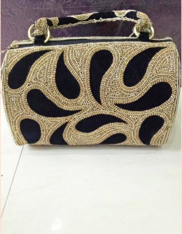 African Trendy Golden Beaded Work Stylish Wedding Party 2021 Handbag for Women