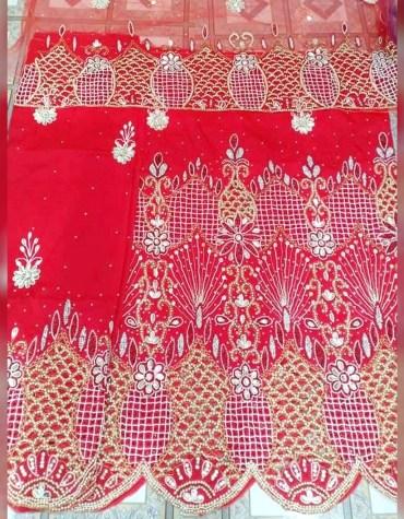 African Stylish Nigerian Beaded Taffeta George Fabric Dress Material For Women