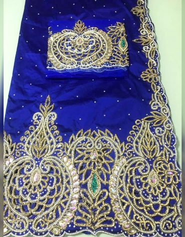 Nigerian Designer Heavy Beaded George Wrapper Wedding Dress For Women