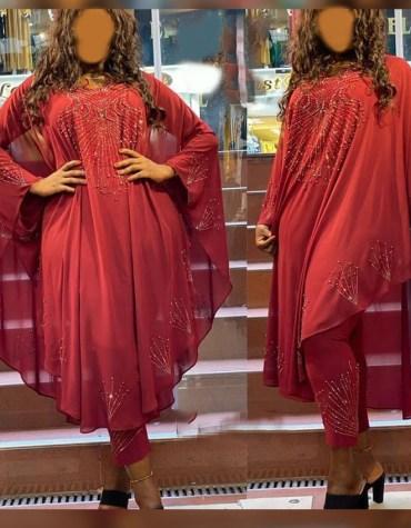 Dubai New Chiffon Kaftan Rhinestone Beaded Dress for Party Wear for Women